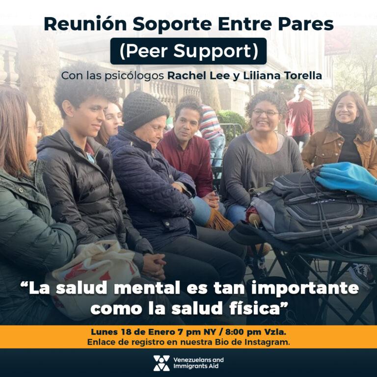 Soporte entre pares nace de la necesidad de contar con apoyo de Venezolanos en Nueva York, así como la asistencia psicológica